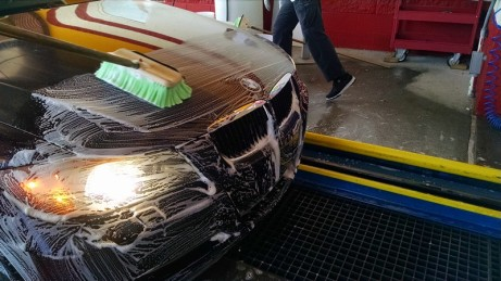Pretreating car hood with soap and water