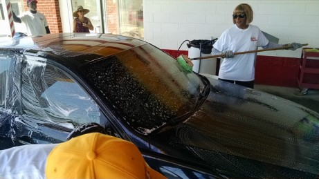 Car windshield pre-scrubbed for bug splats