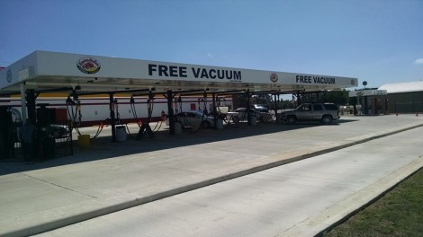 Vacuum stations under overhead canopy