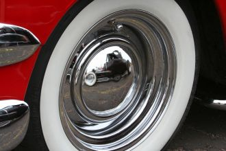 Tire Shine Services in Montgomery, AL - red car with shiny hubcap
